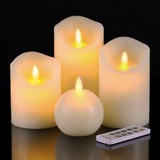 4 pcs Moving Flame Wick Flameless Candle light Set with Remote Timer Included