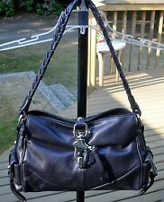 Francesco Biasia Navy Leather Satchel Braided Handle RARE Immaculate EUC