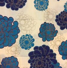 Alfred Shaheen Fabric Vtg Hand Printed Hawaii Blue Flowers Gold Retro  44x56