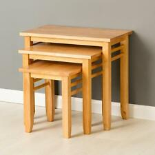Oxford Light Nest of Tables / Solid Hardwood Side Tables / Oak Style Tables