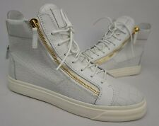 Giuseppe Zanotti Double-Zip Sneakers Men's Croc Embossed White Shoes Size 44