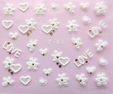 NEW 3D Glitter Nail Art Decor Lace HEART LOVE Decals Seals Stickers