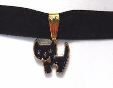 CUTE BLACK KITTY CAT WITH BOW TIE CHOKER velvet necklace kawaii kitten nyanko O4