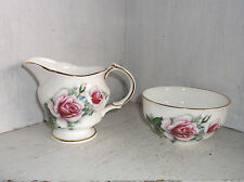 Arklow Pink Roses Irish Bone China Creamer & Open Sugar Bowl Ireland