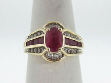 Estate Natural Red Rubies Diamonds Solid 10K Yellow Gold Ring FREE Sizing