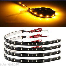 4 Pcs Yellow/Amber Super Bright 15 LED 30CM Car Motorcycle Grill Flexible Light