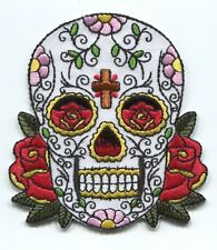 CANDY SKULL cross & roses IRON-ON PATCH *FREE SHIPPING* p3703 dia de los muertos