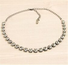 CRYSTAL Cup Chain Necklace made w/ CLEAR CRYSTAL Swarovski Crystals, NEUTRAL