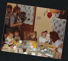 Vintage Photograph Man With Camera Filming Little Children At Birthday Party