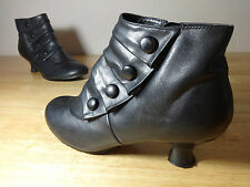 Womens boots size 6 back leather ankle Hush Puppies 2 inch block kitten heel 6UK