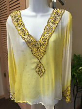 NIKKA Yellow White Embroidered Silk Tunic Cover up Top Shirt INDIA LARGE