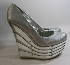 "Silver glittery 6.5"" high Wedges 2.5."" platform  sexy shoes Size  8 p"
