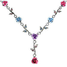 w Swarovski Crystal ~Pink Purple Blue Rose Flower Floral Bridal Jewelry Necklace