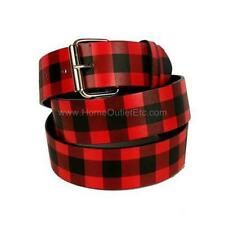 Checker Printed Leather Belt Checkered Unisex Mens Womens Plaid Punk Goth Rock