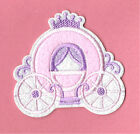"""""""PRINCESS"""" Carriage - Pink - Embroidered Iron On Applique Patch"""