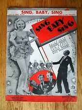 Sing Baby Sing Piano Vocal Sheet Music 1936 Alice Fay Movie