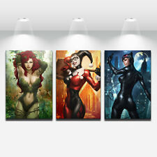 HD Art Print Painting on Canvas Batman Catwoman Poison Ivy Art Germ Harley Quinn