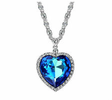Luccicante Brillante Swarovski Element Cristallo Ocean BLUE HEART ZIRCONE COLLANA CIONDOLO
