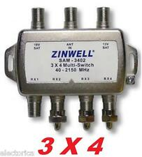 3X4 ZINWELL SAM-3402 SW34 MULTI-SWITCH For: LNB  DIRECTV 2X4 BELL DISH SATELLITE