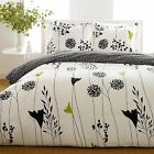 BEAUTIFUL MODERN CHIC BLACK WHITE FLORAL LEAVES COMFORTER SET KING & QUEEN SZ