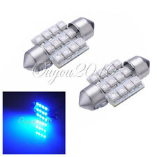 2X Blue 31mm 12 SMD LED Car Interior Dome Festoon C5W Number Plate Light Bulb UK