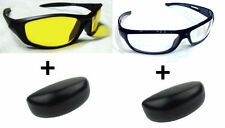 Combo Night and Day Vision Yellow + White Driving Anti Glare Sunglasses Goggles