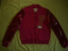 NWT Victoria's Secret Pink Varsity Sweatshirt Bomber Jacket Coat New XS Bling Se