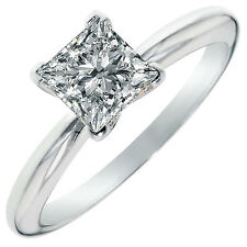 2.85 ct BRILLIANT Princess CUT SOLITAIRE ENGAGEMENT RING Solid 14K Yellow GOLD