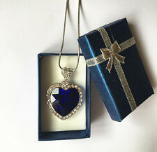 TITANIC HEART OF THE OCEAN CRYSTAL HEART NECKLACE