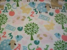 ABC 123 Animal Snuggle Cotton Flannel Fabric - 1/2 yard - White Background
