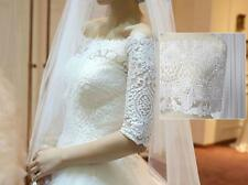 """Embroidered Bridal Lace Trim Ribbon 9.7"""" Off White Floral Corded Wedding Edging"""