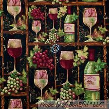 BonEful FABRIC FQ Cotton Quilt Wine Purple Green Grape Vine*yard Shelf Barrel Lg