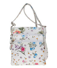 Pitti  White Floral Agnese Leather  Crossbody  Bag NWT