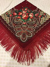 Beautiful vintage Shawl Pavlovo Posad Design Floral scarf Unique style Russian