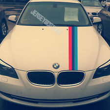 DIY Gloss Color M series Tricolor Stripe Car Hood Decal Sticker(Fits for:BMW)