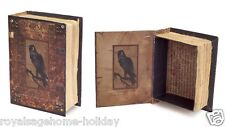 60443 The Raven Faux Book Box Set/2 Halloween Table Decoration Black Crow