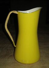 Vintage MCM Dansk Kobenstyle Yellow Enamel Pitcher Wrapped Handle 4 Ducks Mark
