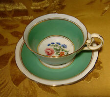 VINTAGE AYNSLEY GREEN CUP & SAUCER FLORAL with PINK ROSE B1998 GOLD TRIM