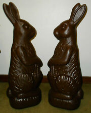 """RARE UNION DON FEATHERSTONE CHOCOLATE EASTER BUNNY RABBIT PAIR BLOWMOLD EXC 31"""""""