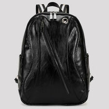 Men's Genuine Cowhide Leather Backpack Rucksack Pack School Laptop Bag Black
