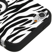iPod Touch 5th / 6th Gen -Black White Zebra Stripes Hard&Soft Rubber Hybrid Case