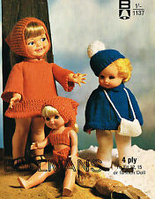 """Dolls clothes knitting pattern for 12"""",15""""to 16"""" and  18""""doll. (V Doll 83)"""