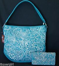 Montana West Rustic Couture Turquoise Handbag w/FREE Matching Wallet
