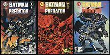 Batman versus Predator Comic full set #1-2-3 Lot vs 1st Print Bagged & Boarded