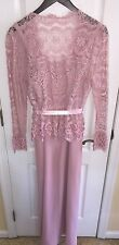 Jo-Ed Sophisticates Pink Lace Evening Ball Gown Easter Dress Long Sleeve M 12-14