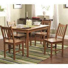 Bamboo 5 piece Dining Set Table Chairs Room Piece Modern Wood Home Furniture