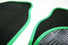 MG TF (02-05) Black & Green 650g Carpet Car Mats - Salsa Rubber Heel Pad