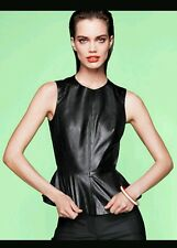 H&M Black Leather Zipped Sleeveless Peplum Top UK 12 BNWT Bloggers Favourite
