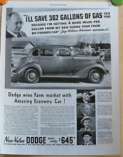 Vintage 1935 magazine ad for Dodge - Dodge wins Farm Market with Economy, photos