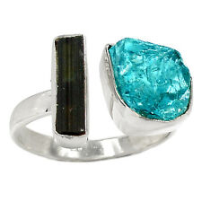 Natural Black Tourmaline Rough 925 Silver Ring Jewelry s.9 RR15723